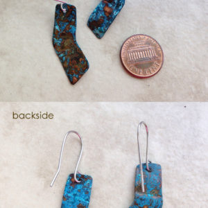 blue natural patina earrings