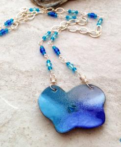 Blue Poppy Enamel Necklace