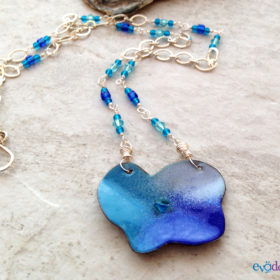Blue Poppy Enamel Necklace