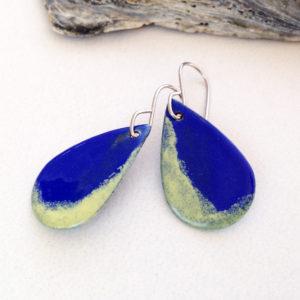 Cobalt Blue Enamel Teardrop Blue and Yellow Earrings