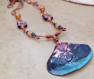 Torch enameled copper shell
