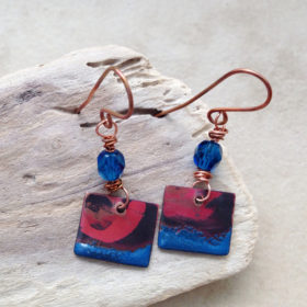Royal Blue Enamel and Crystal Dangle Earrings