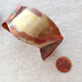 Copper Fold Formed Flamed Wave Cuff