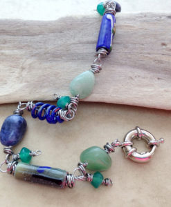 Blue green enamel bead dangle bracelet
