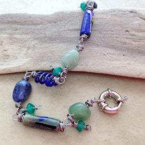 Blue green enamel bead dangle bracelet