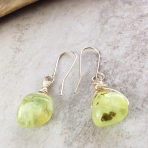 Prehnite Green Stone and Silver Pebble Earrings