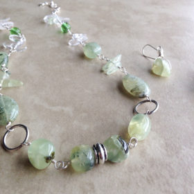 Prehnite necklace and earrings