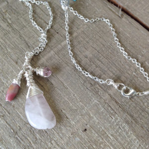 Rose quartz drop dangle necklace