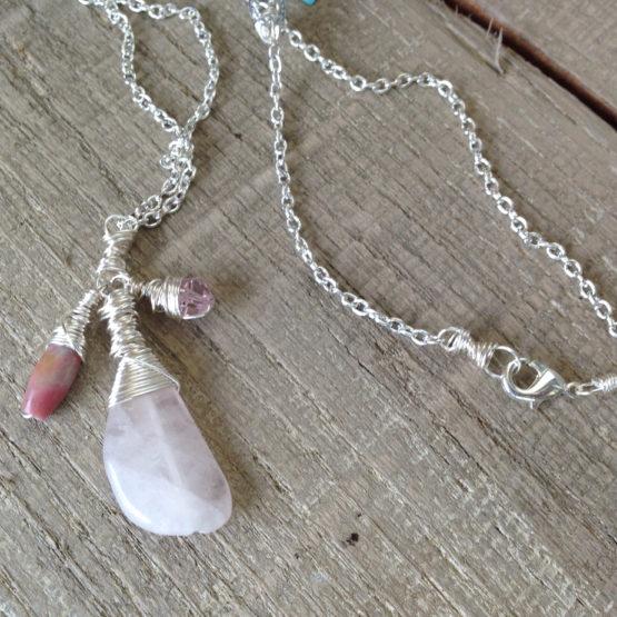 Rose quartz drop dangle necklace