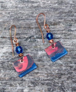 Royal blue torch fired copper patina earrings