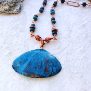 Blue Patina Shell Necklace Natural Copper Patina