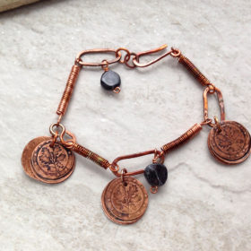 Copper coin disc dangle bracelet