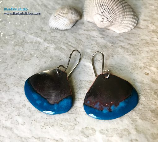 Blue Rustic Enameled Copper Shell