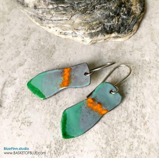 aqua green enamel art earrings
