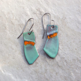 Green Enameled Copper Orange Fold Earrings