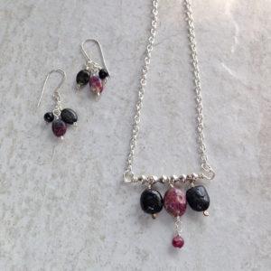 Tourmaline silver dangle earrings