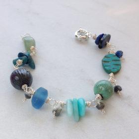Blue Green Enamel Bead Gemstone Bracelet
