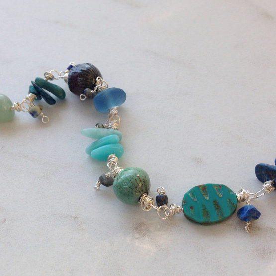 Blue Green Enamel Bead Gemstone Bracelet