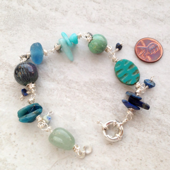Blue Green Enamel and Gemstone Bead Bracelet