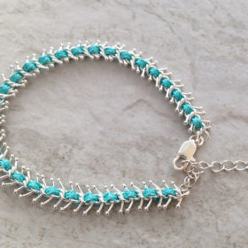 Fashion Turquoise Blue and Silver Fishbone Bracelet