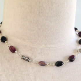 Tourmaline and Pewter Bead Necklace