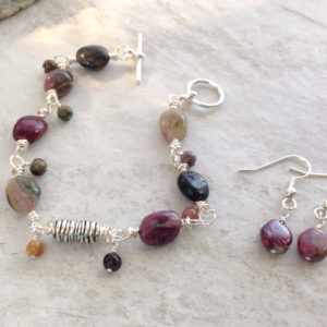 Tourmaline and Pewter Bracelet