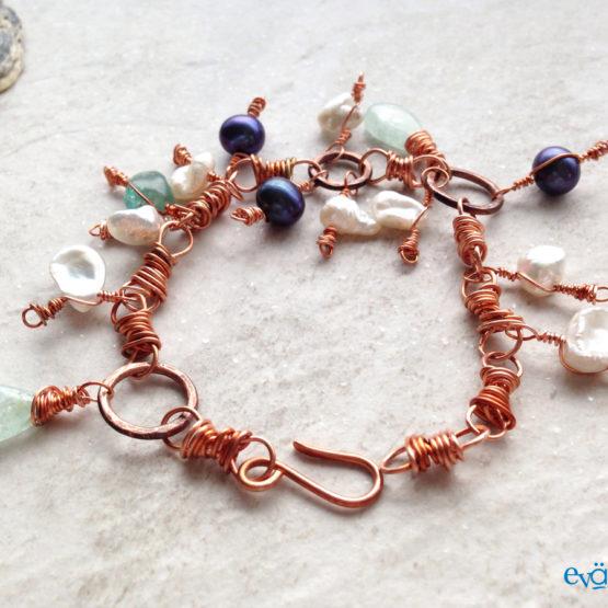 Copper Charm Dangle Pearl Aquamarine Apatite Bracelet