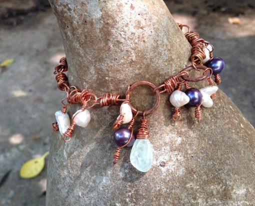 Copper Dangle Pearl Aquamarine Apatite Link Bracelet