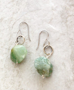 Green Aventurine Rough Cut Stone Earrings