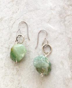 Green Aventurine Rough Cut Stone Earrings