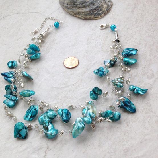Baroque Pearl Multi Strand Electric Blue Necklace