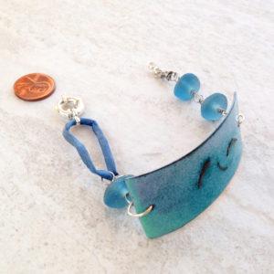 Blue Aqua Geometric Enamel Bracelet