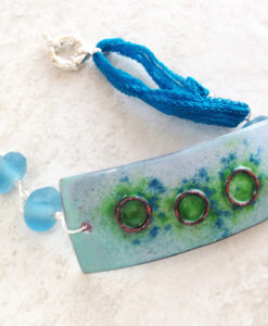 Blue Green Enamel Geometric Copper Bracelet