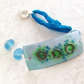 Blue Green Enamel Geometric Copper Bracelet