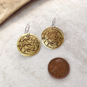 Brass Coin Patina Earrings