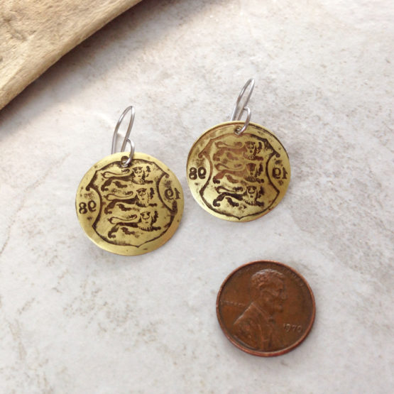 Brass Coin Patina Earrings