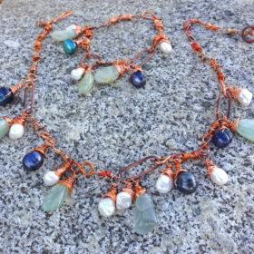 Aquamarine Flamed Copper Boho Drop Bead Necklace
