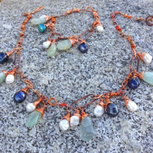 Aquamarine Flamed Copper Boho Drop Bead Necklace