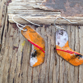 Enameled Copper Stylized Hockey Stick Earrings