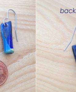 Blue Enameled Copper Tube earrings