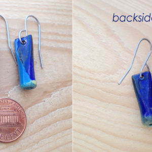 Blue Enameled Copper Tube earrings