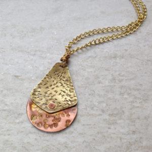 Copper Brass Riveted Texture Pendant