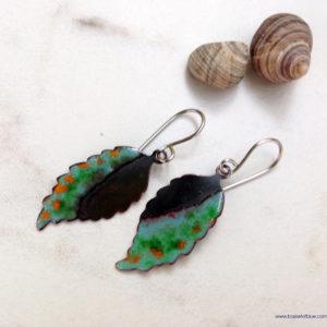 rusti copper enamel green leaf earrings