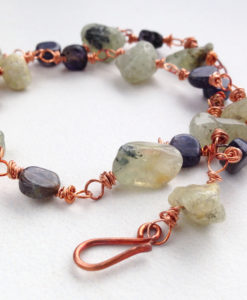 Prehnite Iolite Copper Rough Cut Bracelet