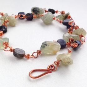Prehnite Iolite Copper Rough Cut Bracelet