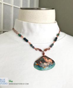 rustic copper enamel shell necklace