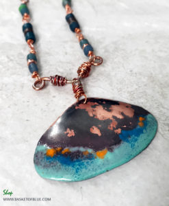 rustic copper enamel shell necklace