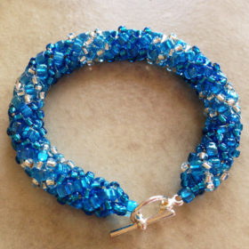 Blue Sparkly Seed Bead Bracelet