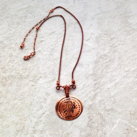 Copper Disc Coin Pendant Goddess Helvetia