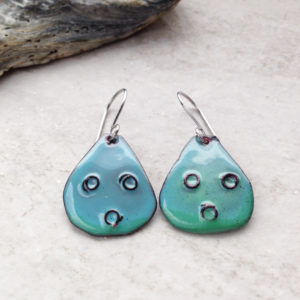 Aqua Enamel copper Rounded Teardrop Earrings With Three Links